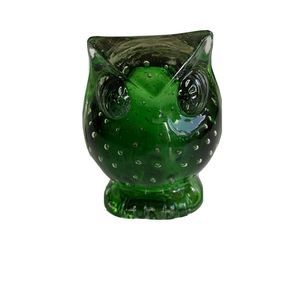 Vintage Owl Green Bubble Glass Japan Paperweight